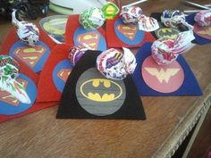 Justice League Goody Bag blow pops with capes, my version using the link idea and templates