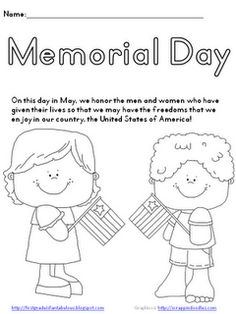 Memorial Day Coloring Page. Great activity for kids on Memorial Day {FREEBIE! Memorial Day Activities, Holiday Activities, Preschool Activities, Body Preschool, Holiday Crafts, Holiday Ideas, School Lessons, Lessons For Kids, Bible Lessons