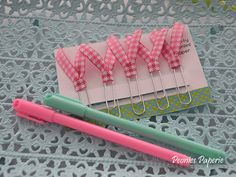 Pink Houndstooth Ribbon Planner Paper Clips for Your Erin Condren Filofax Kikki K Planner Accessories by PeoniesPaperie on Etsy https://www.etsy.com/listing/228772327/pink-houndstooth-ribbon-planner-paper