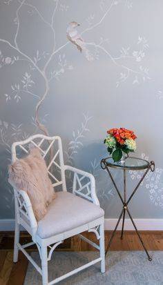 Hand painted walls by Tricia Brossart  Farrow and Ball 22-Light Blue  Chinese chippendale chairs Trish Albano Interiors