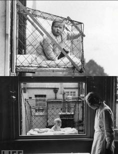 How could parents ensure their children were getting sunlight and fresh air when living in apartment buildings? The baby cage. (1937)