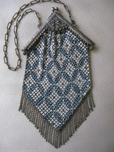 Antique Art Nouveau Deco Blue Orange Enamel Beadlite Chain Mail Mesh Purse W&d Vintage Accessories