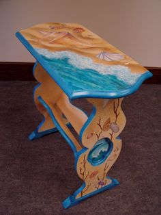 """Hand Painted Recycled Furniture, Original Art, Library Book Shelf Occasional Table, Beach theme Ocean Shells Coral Waves, 24""""h 23.5""""w 12""""d by GreenRiverStudios on Etsy https://www.etsy.com/listing/161976390/hand-painted-recycled-furniture-original"""
