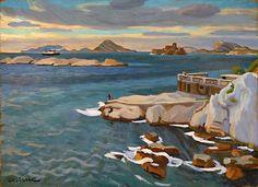 Les îles du Frioul vues de la Corniche-Huile sur isorel (81x60)-Edmond Astruc