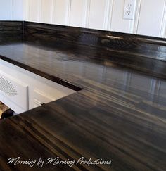 Morning by Morning Productions: DIY Kitchen Countertops Diy Wood Counters, Kitchen Countertops, Plywood Countertop, Wooden Counter, Kitchen Cabinets, Pallet Countertop, Concrete Countertops, Kitchen Island, Countertop Makeover