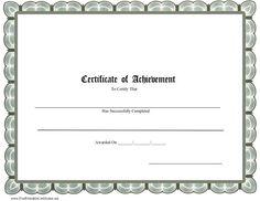 Certificate Of Achievement  School Printable Certificate  School