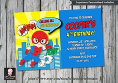 CUTE SUPERHERO PERSONALISED INVITATION - Digital Download File  Your invite will be personalised with your childs name and age and party