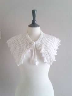 Crochet Capelet Shawl With Flower Ties - Bridal Shrug - Bridal Capelet - Bridal Stole