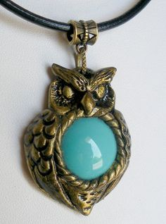 Owl Pendant Polymer Clay and Turquoise Bead di HystericOwl su Etsy
