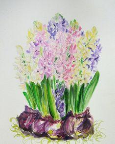 Hyacinth original watercolor https://www.etsy.com/ru/listing/510309143/hyacinth-flowers-original-watercolor