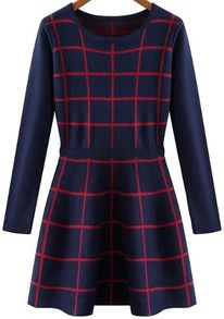 Navy Round Neck Long Sleeve Plaid A Line Dress