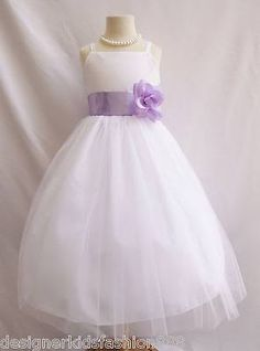 white flower girl dress with lavender - Google Search