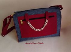 Felt Handbag- casual bag, handmade, shoulder, top handle, burgundy, dark blue, with chain, strong, fashion, everyday use, gift , mothers day by AnatolianFinds on Etsy