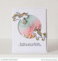 Mama Elephant Stamp Highlight: Unicorns and Rainbows @akossakovskaya #cardmaking #mamaelephant