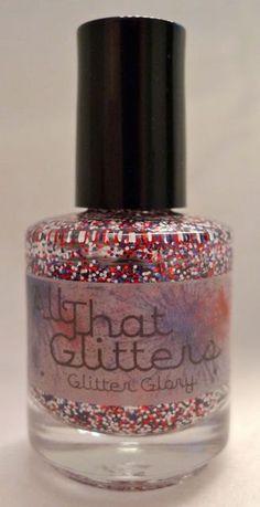 Glitter Glory - red, white and blue nail polish. $8.00, via Etsy.
