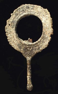 Ancient Roman Mirror. Glass fragment intact. 2nd-3rd century AD