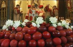 ... hundreds of red eggs at an Easter mass in Varna, north-east of Sofia