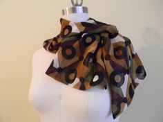 FREE DOMESTIC SHIPPING Geometric autumn chiffon scarf by Olimpias, $55.00