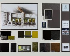 KLC School of Design - sample board Interior Design Portfolios, Interior Design Courses, Interior Design Boards, Interior Ideas, Interior Design Presentation, Presentation Boards, Presentation Styles, Mood Board Interior, Interior Doors