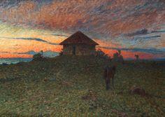 Nils Kreuger (1858-1930), Paysage au Soir avec un Cheval.