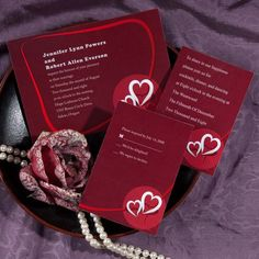 simple red double wedding invitations with free response cards EWI084 as low as $0.94
