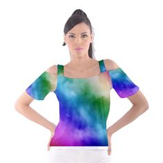 Rainbow Watercolor Women's Cutout Shoulder Tee