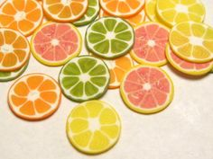 Polymer Clay Cane Slices  Big Citrus Fruits  by YumFoodJewelry, $3.25