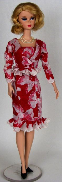 Red and white strapless floral dress and matching jacket for Silkstone and model muse Barbies