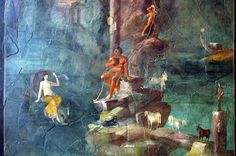 Wall painting Polyphemus and Galatea in a landscape, from the imperial villa at Boscotrecase- 1st century B.C.