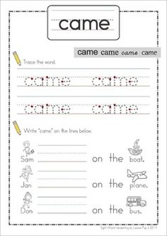 Sight Words Handwriting Book (Primer Words). Great for handwriting practice and reading sight words in context!