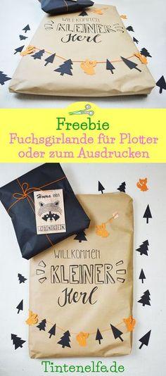 Geschenk zur Geburt verpacken plus süßes Freebie für eine Girlande mit Fuchs und Baum. Für den Plotter oder zum Ausdrucken. Mehr gibts auf meinem Blog #geschenkeverpacken #plotter #freebie