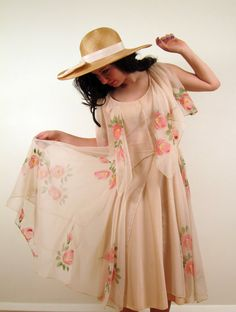 Vintage 1970s Floral Party Dress in Hand Painted by BasyaBerkman, $78.00