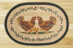 Country Chicks . $26.95. This 100% Jute (see our information pages to find out more) Hand Printed, Braided Rug features beatiful artwork and wonderful craftsmanship. Don't worry about where to put it, this rug is easy to place; think front door, back door, kitchen, bathroom, living room, porch, patio, family room, den, the bottom of the stairs and even by the hot tub! These rugs go great just about anywhere. Clean with mild soap and water or dry clean. Vacuum normally....