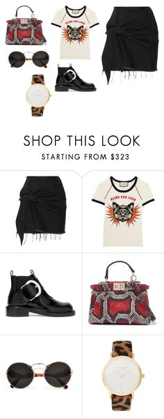 """""""Sin título #11141"""" by ceciliaamuedo ❤ liked on Polyvore featuring Marques'Almeida, Gucci, Maison Margiela, Fendi, Prada and Larsson & Jennings"""