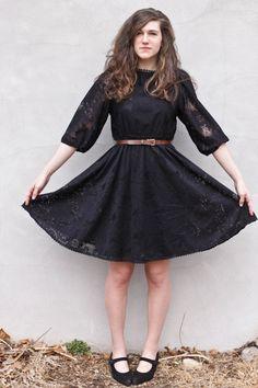 black+dress+brown+belt | black lace thrifted vintage dress - dark brown leather thrifted ...