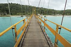 Yellow bridge between Lembongan and Cenigan. #Nusa Lembongan, #Indonesia
