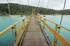 Yellow bridge between Lembongan and Cenigan. #Nusa Lembongan, #Indonesia