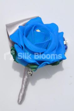 Elegant Artificial Royal Blue Rose Wedding Buttonhole w/ Silver Ribbon #artificialflowers #wedding #weddingflowers #bouquet #flowers #bridal #silkflowers