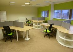 Colorful corporate office workstations