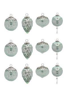 Mercury Glass Light Blue Small Ornaments - Set of 12