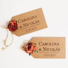 Etiquetas kraft personalizadas detalles boda: modelo 1
