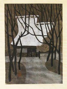 Kiyoshi Saito | (1907-1997) | Winter in Saga Kyoto  |  Japanese Woodblock Prints