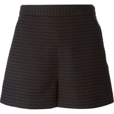 Tamara Mellon A-Line Textured Shorts ($374) ❤ liked on Polyvore featuring shorts, pants, black, silk shorts, high-rise shorts, high-waisted shorts, highwaist shorts and a-line shorts