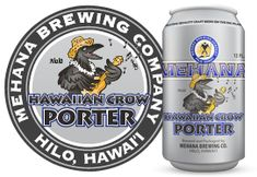 Hawaiian Crow Porter by Mehana Brewing Company - Craft beer can design.