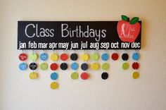 Tell your kids teacher THANK YOU with this fun birthday calendar! Whats Included: 6X24 custom handmade wood board with 30 wooden circles(in