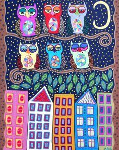 Mexican Folk Art MODERN Owls Brooklyn NYC 16x20 Original Painting_AMBROSINO   eBay