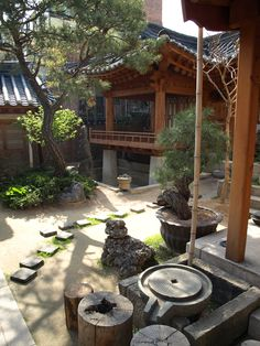 view from next to the outdoor hearth facing the elevated fancy porch Japanese Architecture, Architecture Old, Korean Traditional, Traditional House, Chinese Background, Beautiful Homes, Beautiful Places, Patio Central, South Korea Travel
