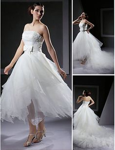 Ball Gown Strapless Asymmetrical Organza Wedding Dress With Removable Cathedral Train - USD $ 249.99