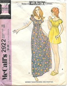 1970's McCall's 2922 Baby Doll Nightgown or Dress Sewing Pattern, offered on Etsy by GrandmaMadeWithLove