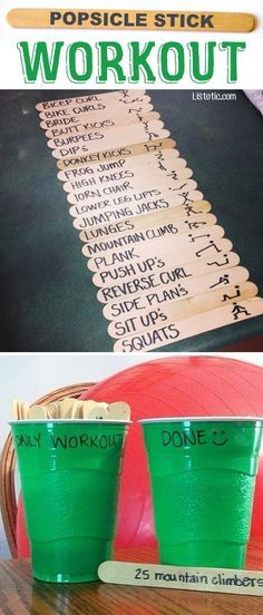 The Popsicle Stick Workout - This fun exercise idea makes everyday a new challenge! #fitness Popsicle Sticks, Popsicles, Workout Challenge, Challenges, Fun Workouts, Exercise, Fitness, Ice Pops, Gymnastics
